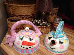 You Melt My Heart, Valentine's Day Snowman teapots...designed and hand painted by Lisa Stuckey.