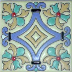 Mexican Ceramic Tile, Malibu Cuerda Seca hrm 48