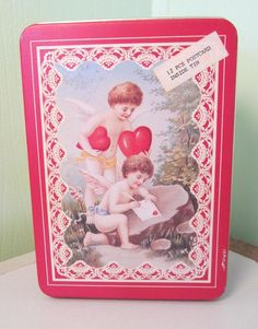 Vintage Valentine Tin With Post Cards