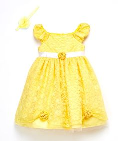 Loving this Yellow Floral Lace Belle Dress & Headband - Toddler & Girls on #zulily! #zulilyfinds