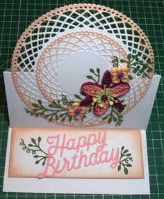 Tonic Studios Trellis Circle Base Die Birthday Card and quilling | docrafts.com