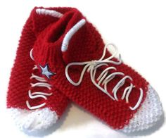 Handmade Custom Order #Converse Slipper #Socks by NadiasKnits, $25.00   www.etsy.com/shop/nadiasknits   My Custom Order Converse Slipper Socks are hand knit from 100% acrylic yarn or 80% acrylic yarn and 20% wool yarn. They are available in your favorite color combination and are perfect for both men and women! What better way to represent your favorite sport's team than with comfy sock slippers in your team's colors!  #trending #fun #whimsical #teamcolors #new #pretty #handmade #etsy