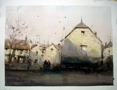 Village de Dordogne peint par J. Artist Painting, Painting & Drawing, Watercolor Paintings, Watercolours, Joseph Zbukvic, Stage, Tiny Stories, Dordogne, Art Pictures