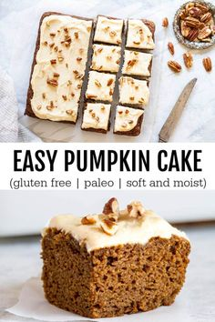 A simple and straight forward pumpkin cake that s soft moist and perfectly spiced Topped with a dairy free velvety frosting Gluten free Paleo Gluten Free Treats, Gluten Free Cakes, Gluten Free Desserts, Paleo Sweets, Paleo Dessert, Dessert Recipes, Paleo Food, Pumpkin Dessert, Food Cakes