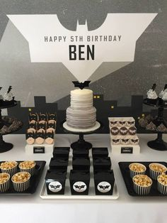 Modern Batman Birthday Party via Kara's Party Ideas | Party ideas, decor, desserts, printables, recipes, and more! KarasPartyIdeas.com (26)