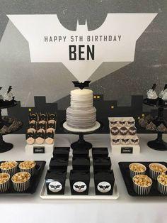Modern Batman Birthday Party via Kara's Party Ideas | Party ideas, decor, desserts, printables, recipes, and more! KarasPartyIdeas.com (26)