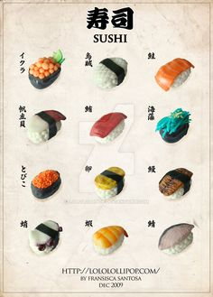 Clay Sushi Menu by lololollipop Cute Polymer Clay, Polymer Clay Miniatures, Polymer Clay Projects, Polymer Clay Charms, Polymer Clay Creations, Diy Clay, Clay Crafts, Sushi Menu, Sushi Cake