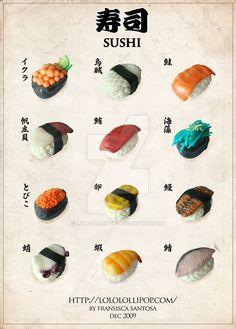 Clay Sushi Menu by lololollipop Cute Polymer Clay, Cute Clay, Polymer Clay Miniatures, Polymer Clay Charms, Polymer Clay Projects, Polymer Clay Creations, Diy Clay, Polymer Clay Jewelry, Clay Crafts