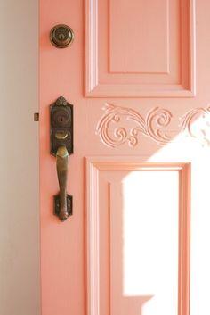 Front Doors: Coral Pink Front Door Home Door Front Door Design Front Door Inspirations: Mesmerizing Cottage Front Door Color For Inspirations Live Coral, Coral Pink, Coral Colour, Coral Orange, Peach Colors, Paredes Color Salmon, Coral Front Doors, Design Living Room, Wall Colors