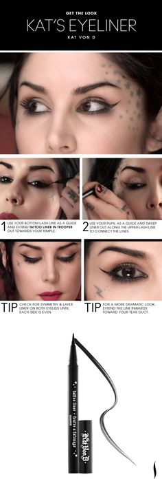 Beauty How To: Kat Von D's Liquid Liner Technique. I own the Kat Von D liner and it's the easiest, fool-proof liquid eyeliner I've ever used. Eyeliner Make-up, Eyeliner Looks, Eyeliner Ideas, Eyeliner Styles, Eye Brows, Eye Makeup, Beauty Makeup, Hair Makeup, Sephora Makeup