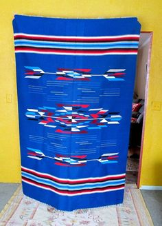 Vintage Large Chimayo Rug Blanket 83x53 inches Blue Red Gray | eBay