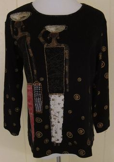 Chico's Women's Size 1 S Long Sleeve Black Ethnic Cotton T Shirt EUC Looks New #Chicos #PulloverTee