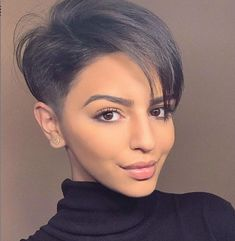 Best Short Pixie Haircut And Color Design For Cool Woman - My list of womens hair styles Short Hair Long Bangs, Pixie Haircut For Thick Hair, Longer Pixie Haircut, Short Hairstyles For Thick Hair, Short Pixie Haircuts, Short Hair Cuts, Short Hair Styles, Long Pixie, Undercut Hairstyles