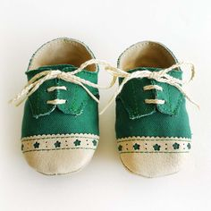 Baby Shoes Boy or Girl Green Canvas with Brogued Leather Crib Shoes. $33.00, via Etsy.