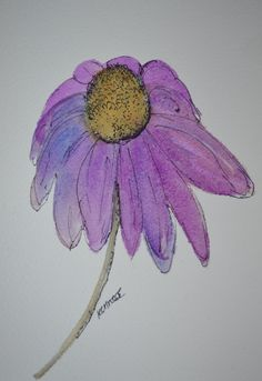 """Cone Flower Watercolor Ink Original Painting Maine, Summer, Purple, Wall Art, nature, botanical, garden, 8x10"""" Mat by Artist Kellie Chasse by KellieLynnArt on Etsy"""