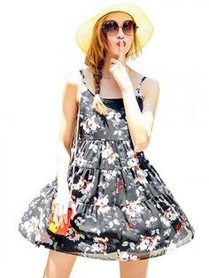 black spaghetti strap floral print dress | USTrendy   www.ustrendy.com #ustrendy