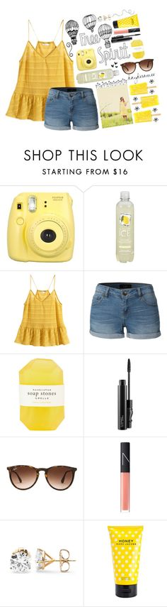 """//Make it alright, need a little sweetness in my life\\"" by chloes-creations ❤ liked on Polyvore featuring INDIE HAIR, H&M, LE3NO, Pelle, MAC Cosmetics, Ray-Ban, NARS Cosmetics and Marc Jacobs"