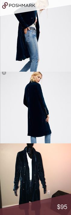 Free People double breasted velvet duster Beautiful soft dark teal FP velvet duster. The pictures say it all. 💜💜💜 like new. Free People Jackets & Coats Trench Coats
