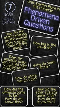 NGSS aligned phenomena based driving questions for a unit on Earth's Place in the Universe