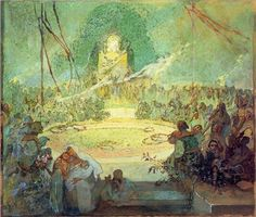 Age of Love - Alphonse Mucha   Technique: Tempera, Genre: allegorical painting, Style: Symbolism 1936-1938