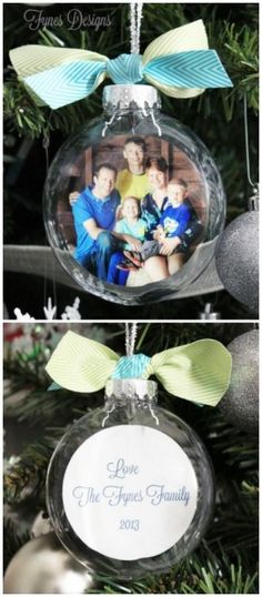 28 Creative Handmade Photo Crafts with Tutorials- DIY Glass Photo Ornaments. These DIY glass photo ornaments make wonderful and personalized gifts for any occasion. Easy and quick to make and most of the supplies can also be found around the house. Diy Christmas Ornaments, Diy Christmas Gifts, Christmas Projects, All Things Christmas, Holiday Crafts, Holiday Fun, Christmas Decorations, Ornament Crafts, Holiday Decor