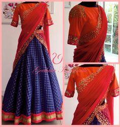Half saree color combinations that you didnt think of earlier keep me stylish Half Saree Lehenga, Lehnga Dress, Indian Lehenga, Saree Look, Anarkali, Lehenga Blouse, Bridal Lehenga, Lehanga Saree, Bollywood Lehenga
