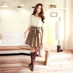 $11.42 New Arrival Faux Twinset Half Sleeves and Pleated Dress For Women