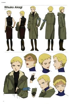 Ritsuko Character Model Sheet