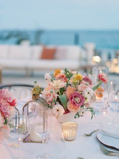 Wedding Events, Our Wedding, Destination Wedding, Colorful Centerpieces, Cabo San Lucas Mexico, White Bridesmaid Dresses, Coconut Bars, Event Branding, Welcome To The Party