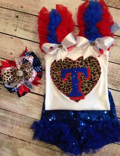 """Actually made this for my little girl to wear at her brothers baseball games the """"Titans"""" but would be a cute Texas Rangers outfit! http://facebook.com/popzybows"""