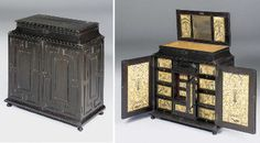 A FLEMISH EBONY AND EMBROIDERED RAISED-WORK TABLE CABINET