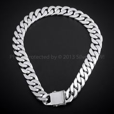 25mm Heavy Curb Link Necklace Mens Silver Chain Necklace, Silver Chain For Men, Silver Man, Neck Chain, Silver Jewellery, Jewelry, Chains, Ferrari, Bangle