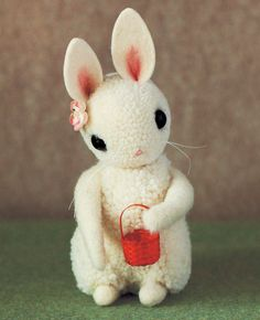 Make this adorable pom pom bunny with this step-by-step tutorial from Adventures in Pompom Land. Cute Diys, Cute Crafts, Felt Crafts, Pom Pom Animals, Felt Animals, Softies, Bunny Ears Template, Sewing Tutorials, Sewing Crafts