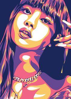Vector Portrait, Portrait Art, Blackpink Poster, Small Canvas Art, Pop Art Posters, Madhubani Art, Fan Art, Art Drawings Sketches, Illustration Art