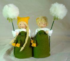 Wool-felted, Waldorf-Inspired Little Girls 'BLOWBALL' Flower Fairy Children ................................................................................................ by KatjasFlowerFairys | Etsy