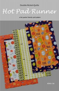 This table runner pattern doubles as a hot pad! Helps protect your table or countertop from hot dishes! Makes a quick and easy gift, too. Three styles of runner are included in the pattern. And, it's fat quarter friendly. Easy Sewing Projects, Sewing Projects For Beginners, Sewing Hacks, Sewing Tutorials, Sewing Crafts, Sewing Tips, Scrap Fabric Projects, Basic Sewing, Diy Projects