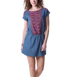 Embroidered denim dress - Medium denim - Women - Dresses - Promod
