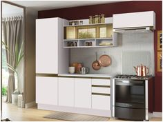 Cozinha Compacta Madesa New Glamy - com Balcão 7 Portas 2 Gavetas Com Vidro Reflecta - Cozinhas Compactas - Magazine Luiza