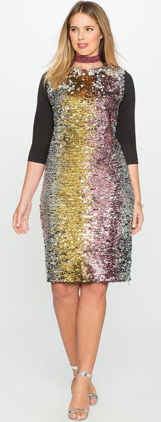 Plus Size Purple Silver Fading Sequin Long Sleeve Sequin Dress
