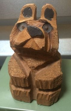 Adorable Small Hand Carved Alaskan Style Wood Wooden Bear Take A Look | eBay