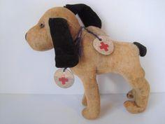 "5"" Antique Miniature Red Cross Rescue Dog Possibly Steiff Velvet VINTAGE Stuffed #Steiff"