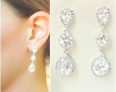 Rhinestone Bridal Earrings // Clear CZ Teardrop Bridal Earrings // cubic zirconia // rhinestone // wedding earrings // vintage