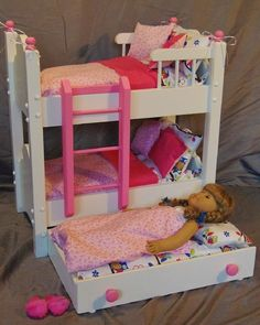 Doll bunk beds for 18 inch dolls doll bunk bed with trundle bed fits girl doll handmade wood doll bunk bed, doll bunk beds for 18 inch dolls tipps zum Doll Bunk Beds, Bunk Bed With Trundle, Wooden Drawer Pulls, Wooden Drawers, Owl Bedding, Bedding Sets, Modern Murphy Beds, Murphy Bed Plans, Large Pillows