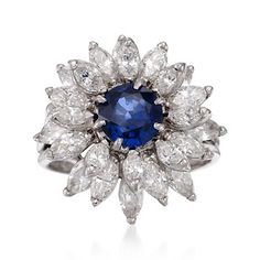 C. 1975 Vintage 1.24 Carat Sapphire and 3.00 ct. t.w. Diamond Floral Ring in Platinum. Size 4.75
