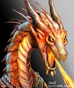 Fierce Fire Breathing Dragon Bust by maugryph.deviantart.com on @DeviantArt