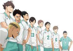 Aoba Johsai 'Seijoh' High School. Left to Right: Kyoutani Kentaro, Oikawa Toru, Iwaizumi Hajime, Kindaichi Yutaro, Kunimi Akira, Hanamaki Takahiro, Matsukawa Issei, Yahaba Shigeru and Watari Shinji