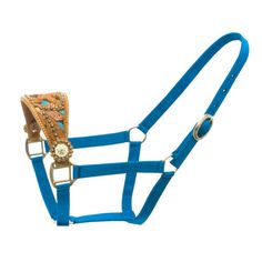 """Dark Horse Tack is proud to offer... Heavy, 1"""" double-ply nylon with chromed fittings. 3"""" flared saddle leather noseband with cut outs and zebra trim. Floral tooled with silver conchos, colored stones                                                                                                                                                     More"""
