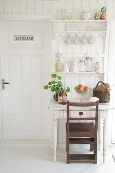 open shelving nook for cups and jars