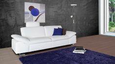 Big Couch Cosenza in weißem Echtleder - Möbel Mahler 24
