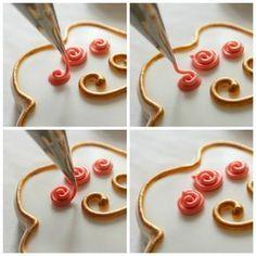 Nice simple royal icing roses @ the sweet adventures of sugarbelle Fancy Cookies, Iced Cookies, Royal Icing Cookies, Cupcake Cookies, Sugar Cookies, Easter Cookies, Cookie Tutorials, Cake Decorating Tutorials, Cookie Decorating